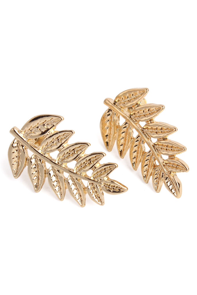 Etched Leaf Stud Earrings