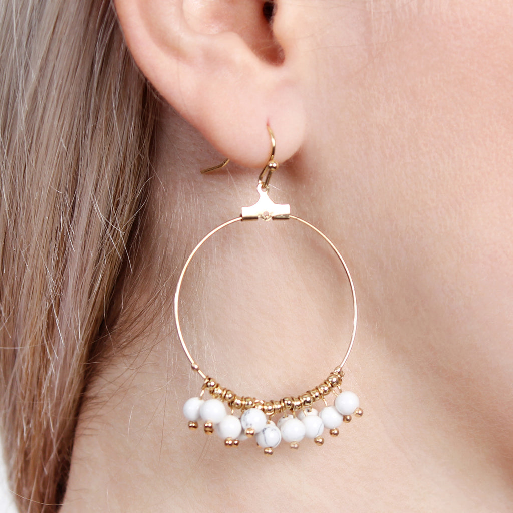 natural front side stone drop earrings products