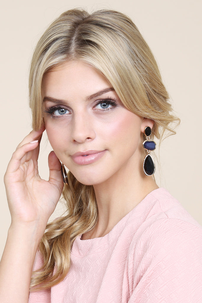 Tri Cut Gem Dangling Earrings