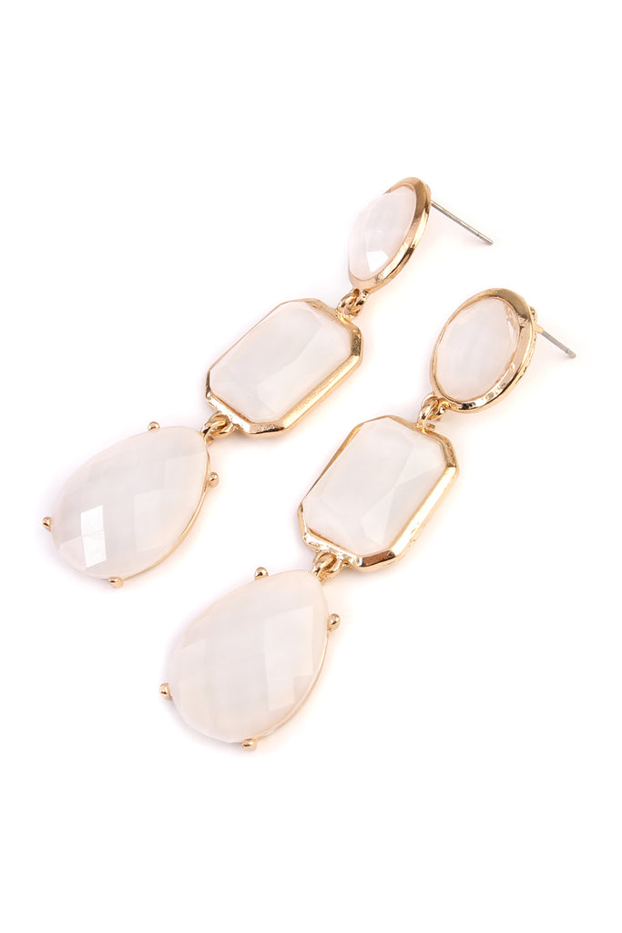 Tri Shapes Gem Cut Drop Earrings
