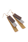 Tri Tone Leather Strip Earrings
