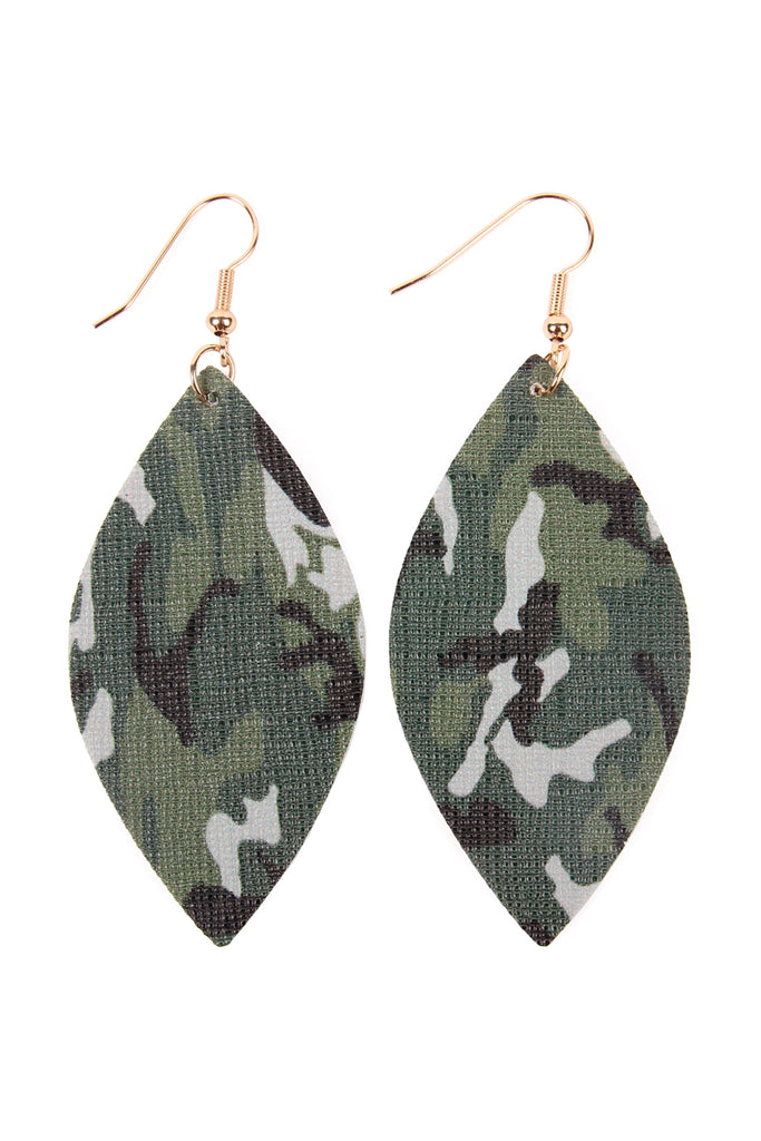 HDE2234 - CAMOUFLAGE MARQUISE LEATHER EARRINGS