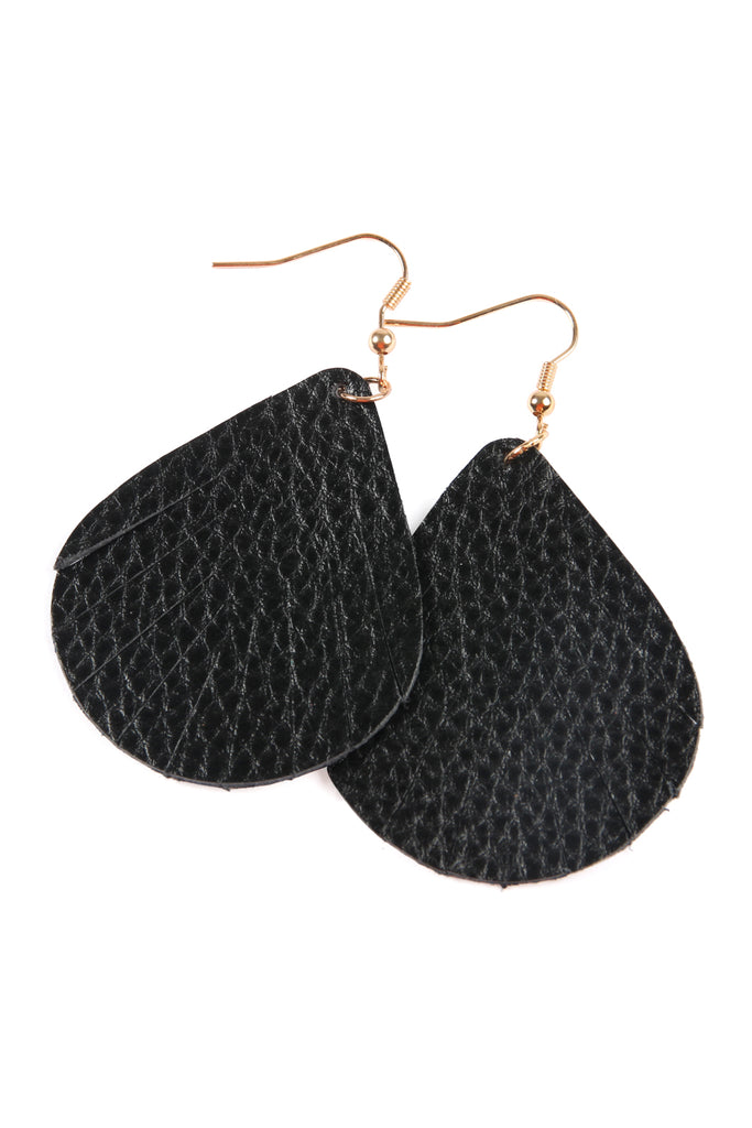 Fringed Pear Shaped Leather Earrings