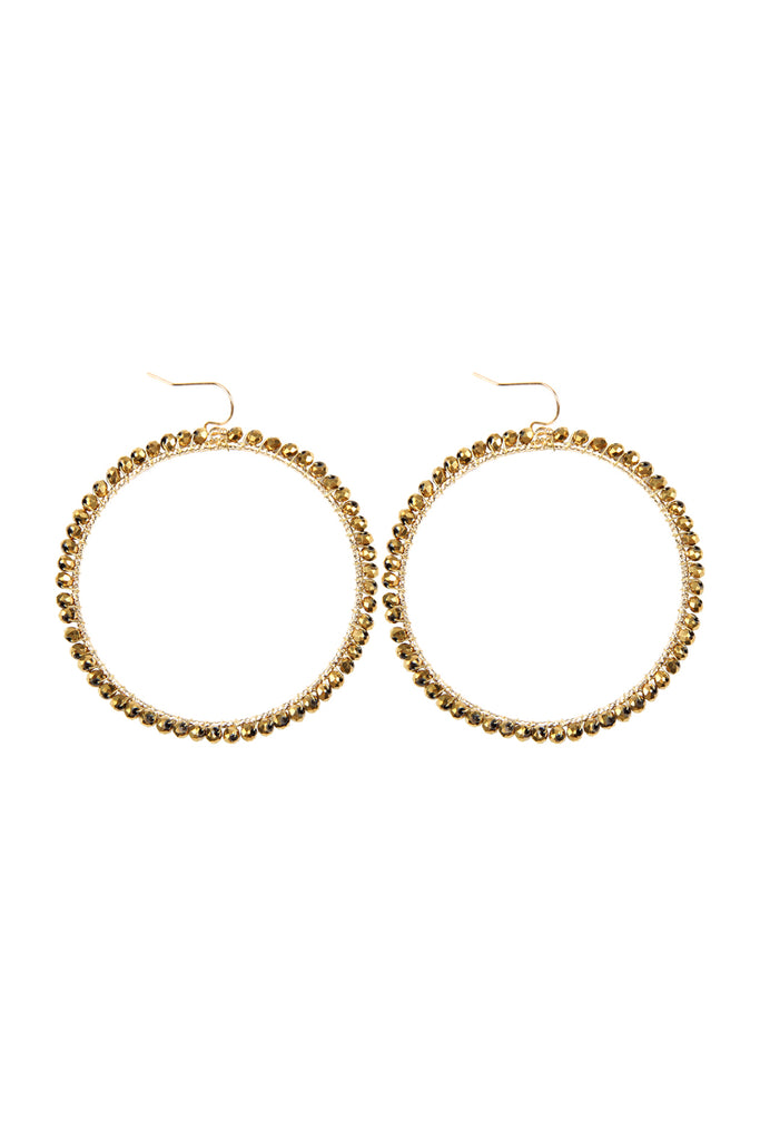 WIRE HOOP WITH GLASS BEADS HOOK EARRINGS