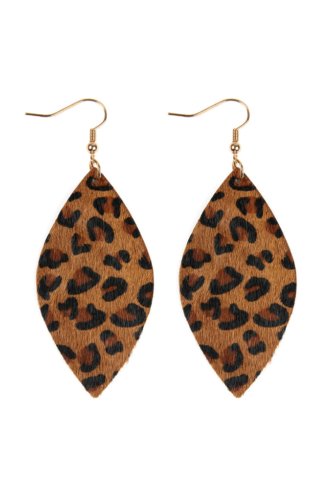 HDE2436 - LEOPARD MARQUISE LEATHER HOOK EARRINGS