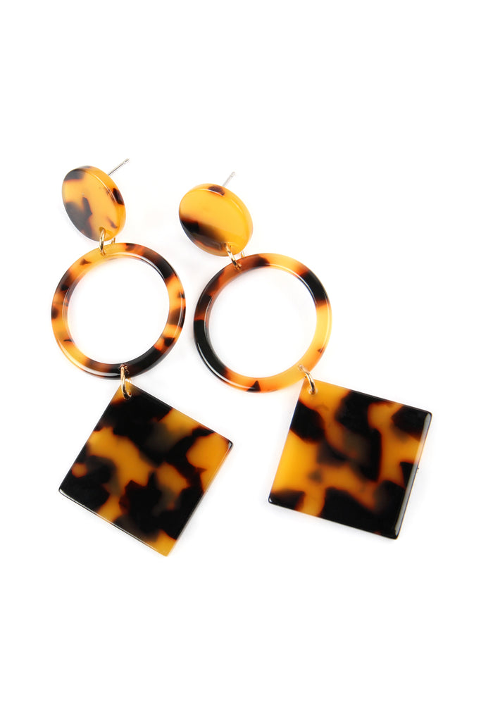 HOOP AND SQUARE DANGLE DROP TORTOISE ACETATE EARRINGS
