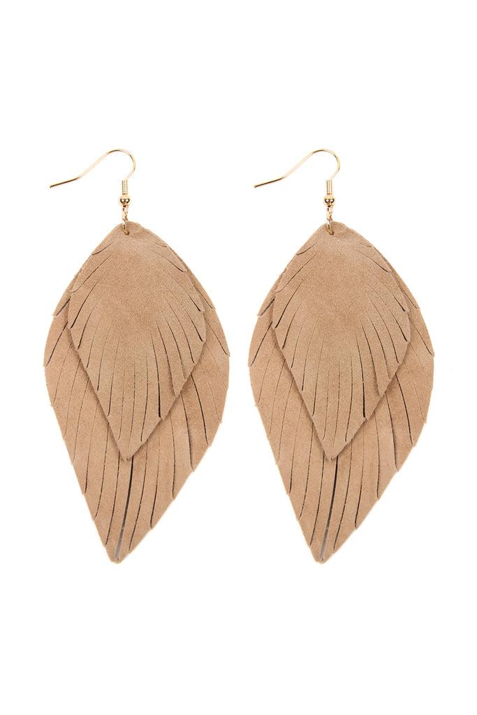 HDE2445 - LAYERED FRINGE LEATHER HOOK EARRINGS