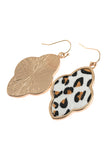 HDE2590 - QUATREFOIL FACETED LEOPARD DROP EARRINGS