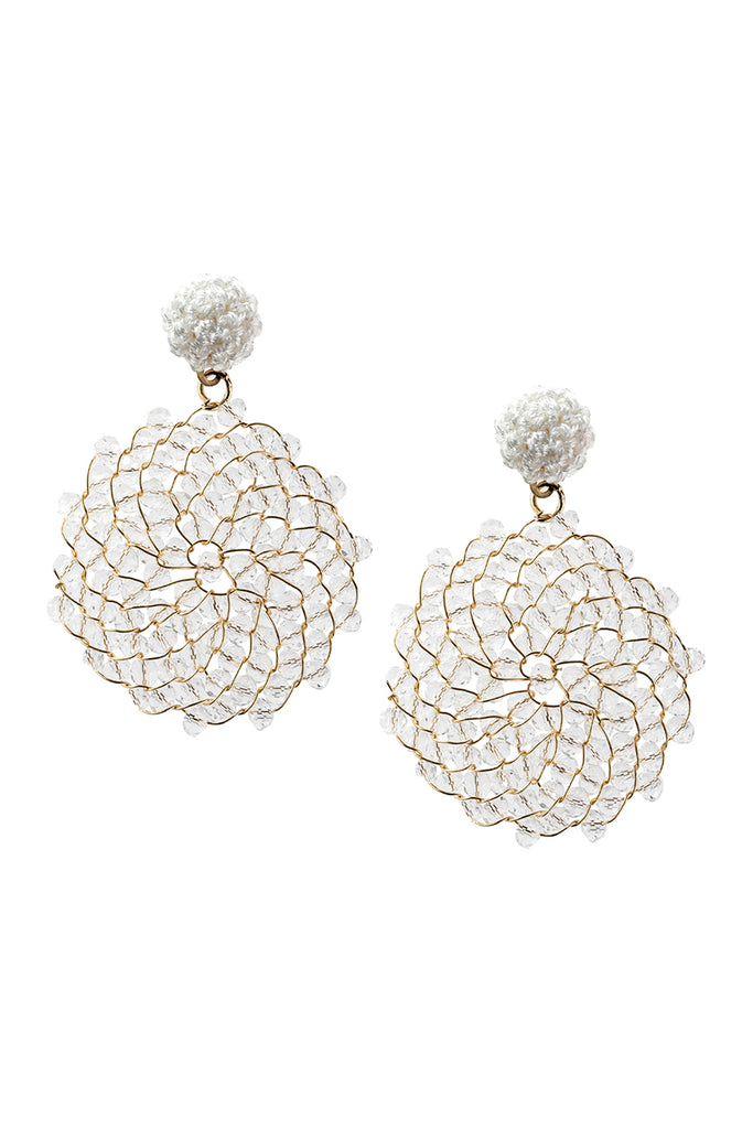 HDE2596 - SWIRL PATTERN RONDELLE DROP EARRINGS