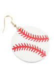 HDE2615 - SPORTS LEATHER ROUND DROP EARRINGS