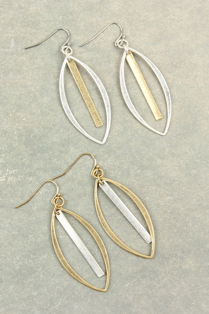 HDE2651 - OPEN MARQUISE WITH BAR DROP EARRINGS