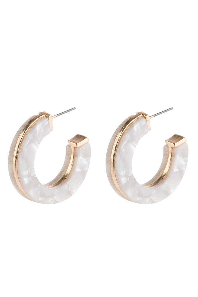 HDE2789 - OPEN CIRCLE FACETED ACETATE EARRINGS