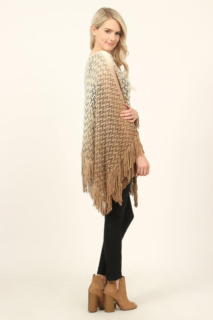 Ombre Fringe Poncho
