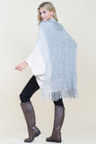 Three Tone Ribbed Fringe Cardigan