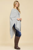 HDF2101BG-LGY - LIGHT GRAY TASSELED PONCHO