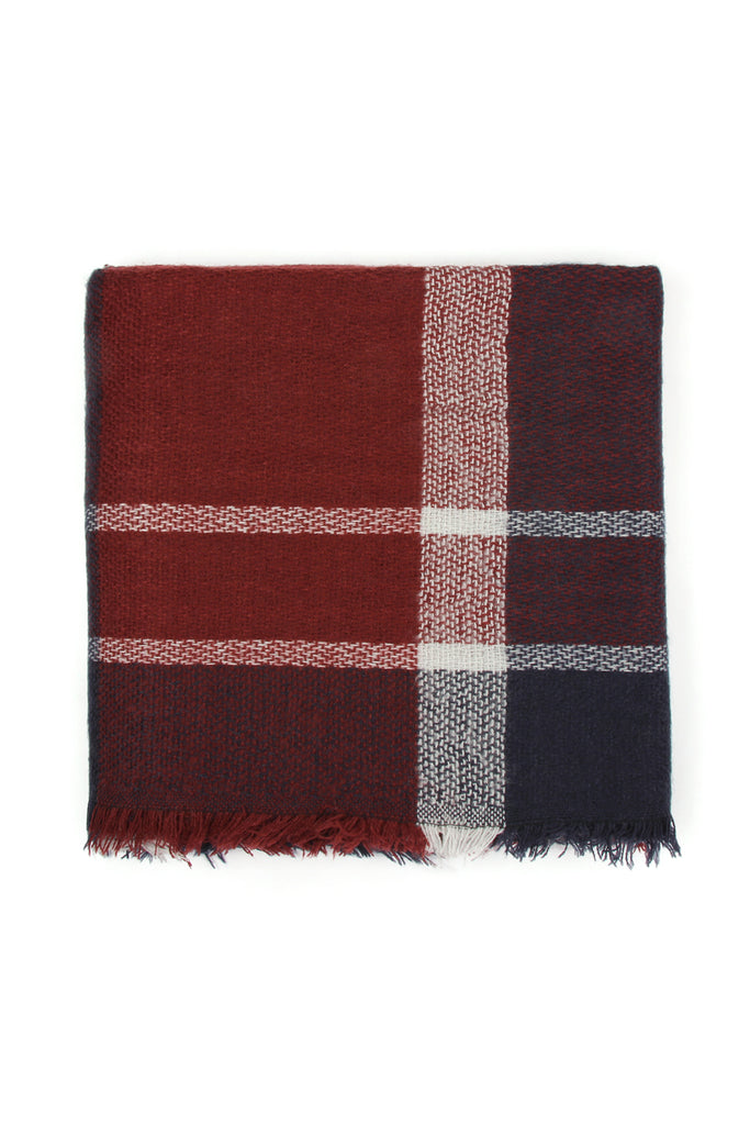 Colorblock Fringed Blanket Scarf - Style 3