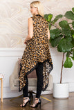 Brown Leopard Skin Open Front Cardigan