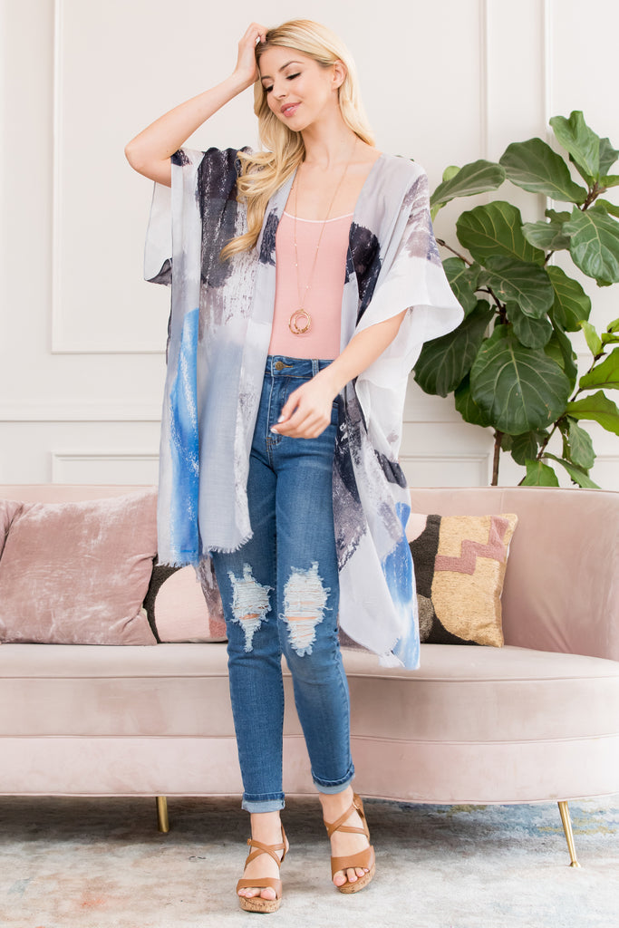 Black Distressed Paint Open Front Kimono