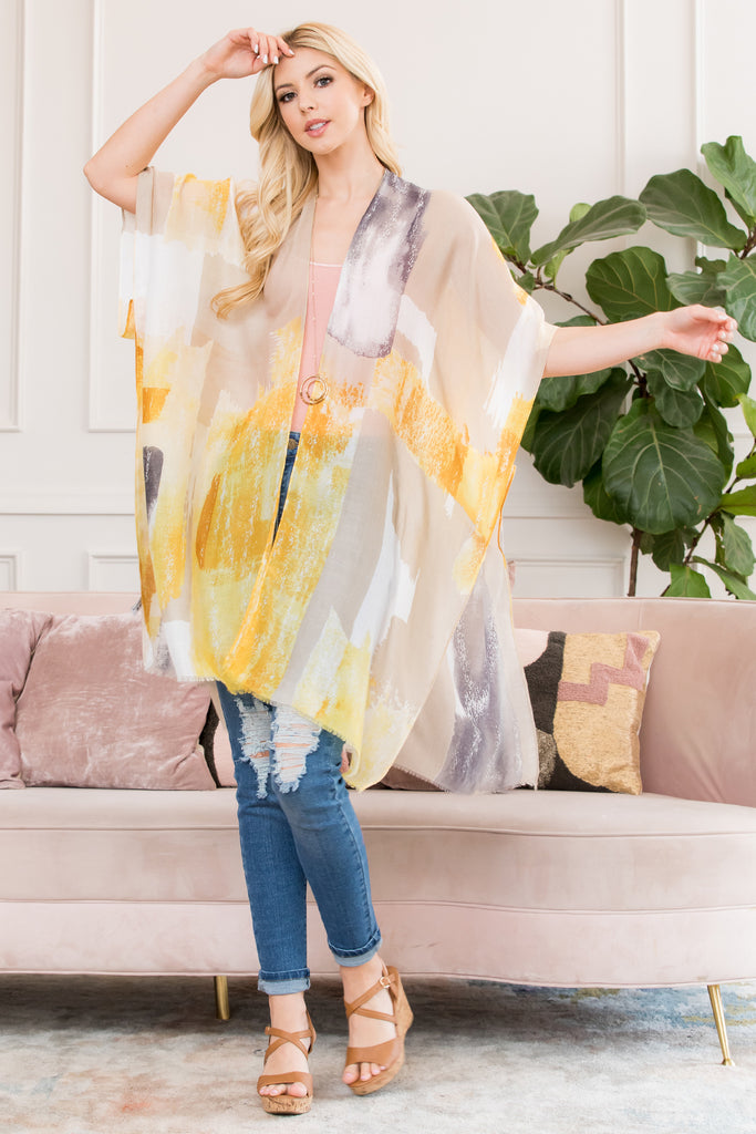 Yellow Distressed Paint Open Front Kimono