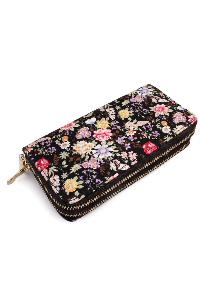 HDG1458 - FLORAL DOUBLE ZIPPER WALLET