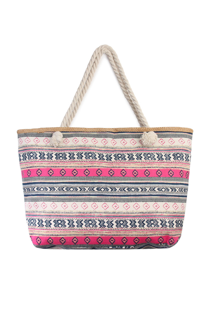 Multi Pattern Striped Tote Bag