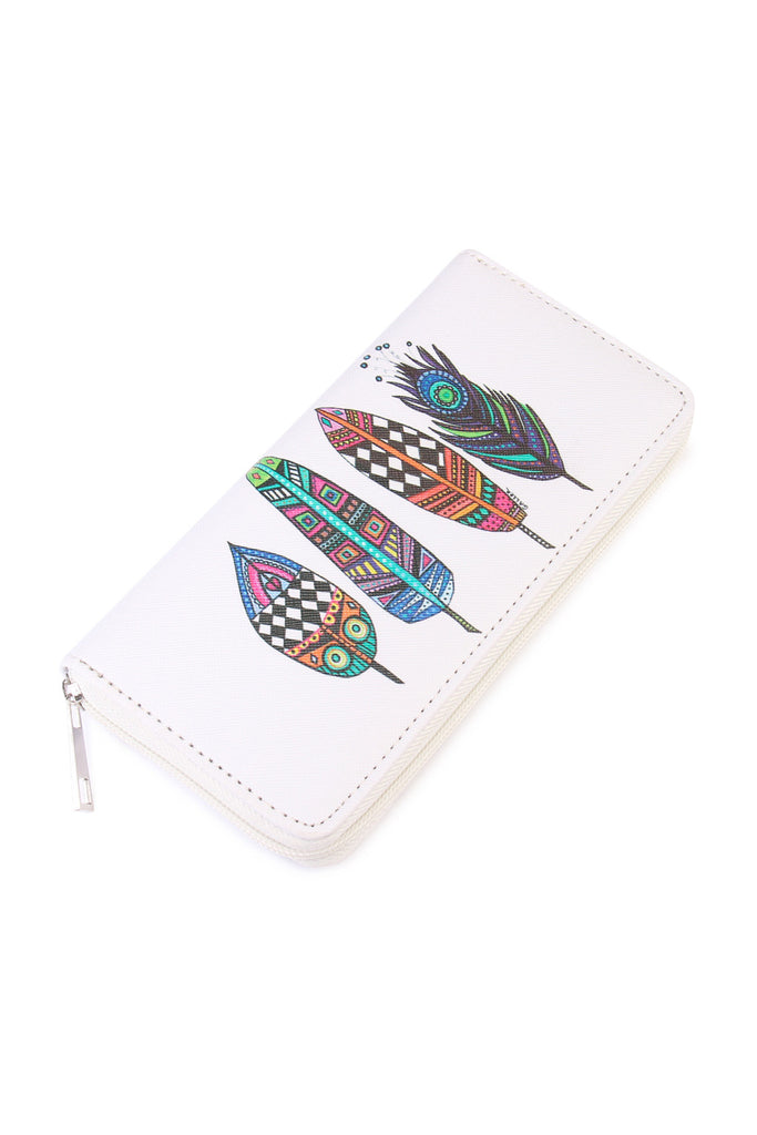 Multicolor Feathers Print  Wallet