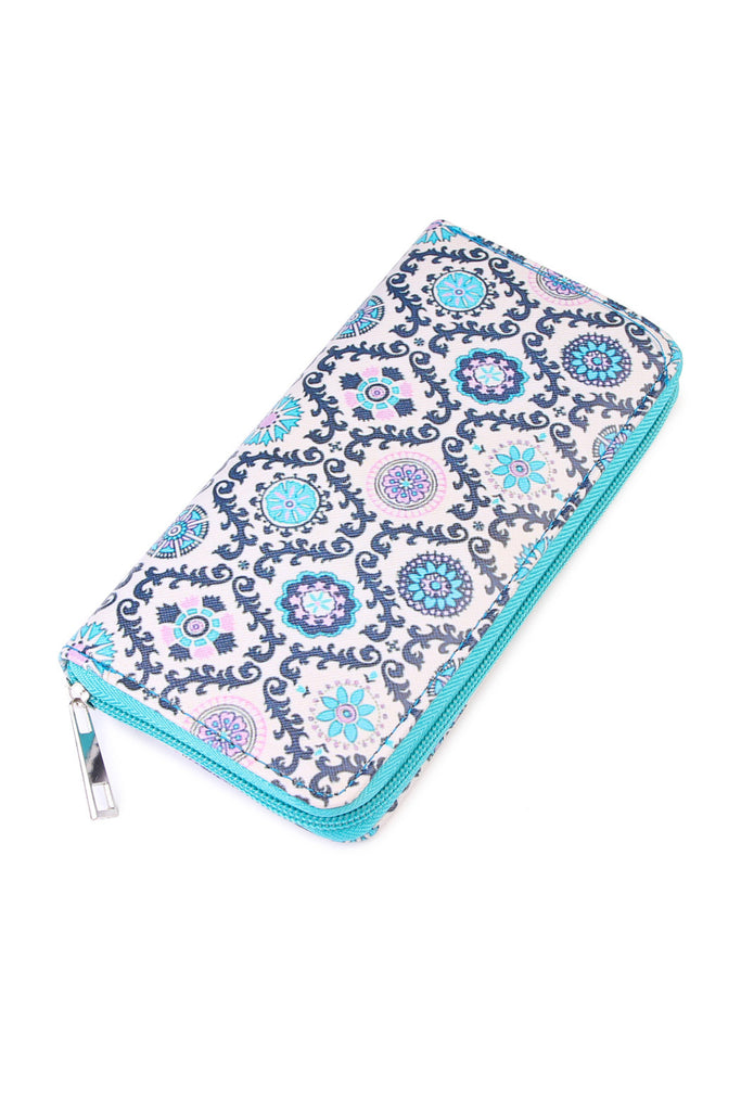 Teal Abstract Print Wallet