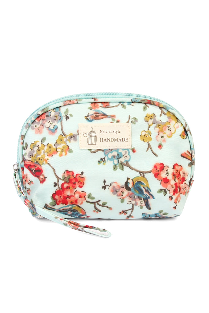 Mint Floral Bird Petite Cosmetic Bag