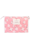 Pink Floral Large Cosmetic Bag
