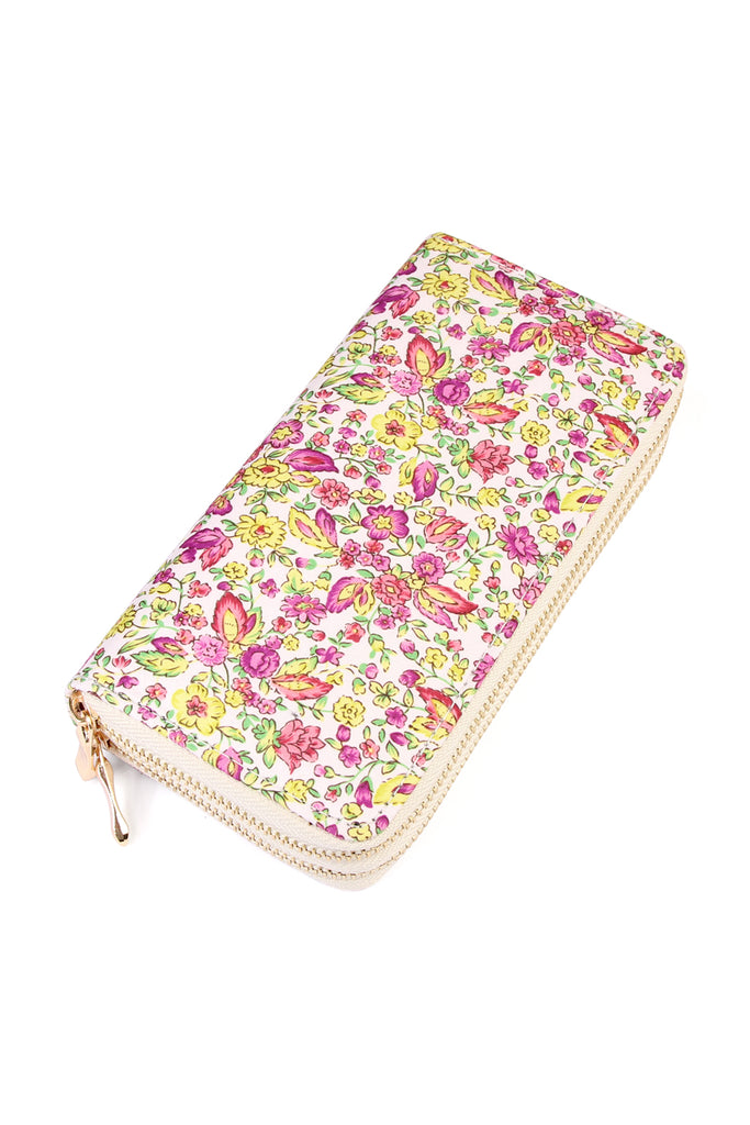 HDG1931 - FLORAL ART PRINTED DOUBLE ZIPPER WALLET