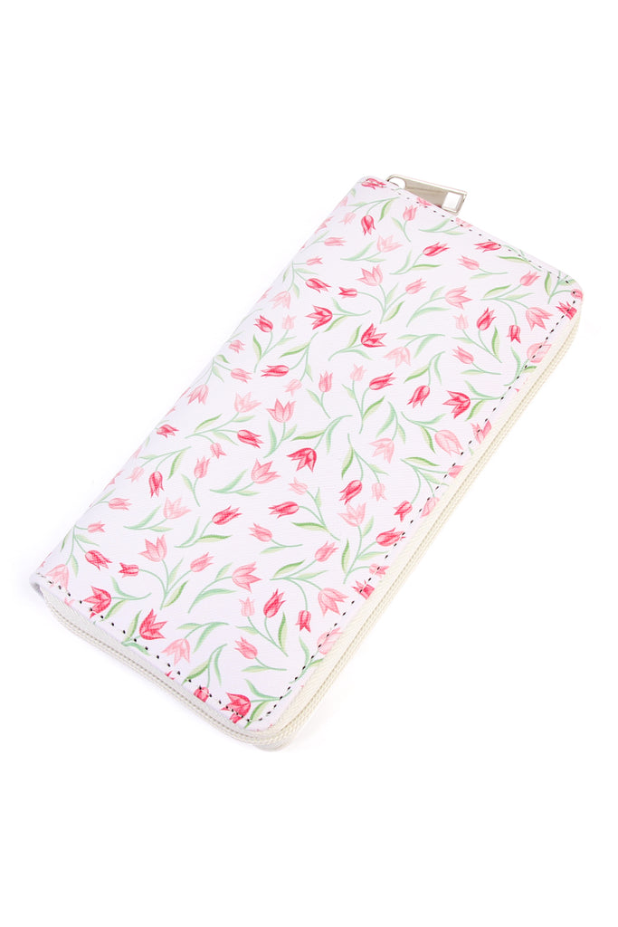 HDG2006 - FLORAL PRINT SINGLE ZIPPER WALLET