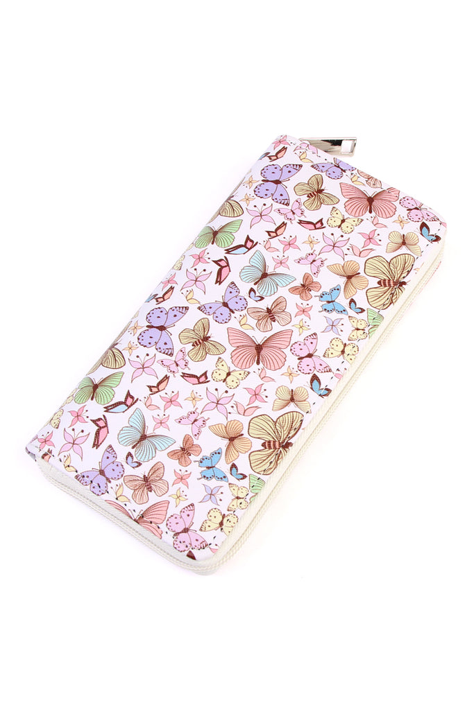 Butterfly Print Single Zipper Wallet