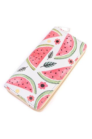 Watermelon Pineapple Print Zipper Wallet