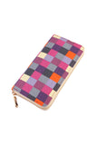 Single Zipper Wallet Checkered