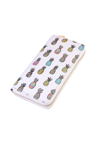 Floral Bird Print Single Zipper Wallet