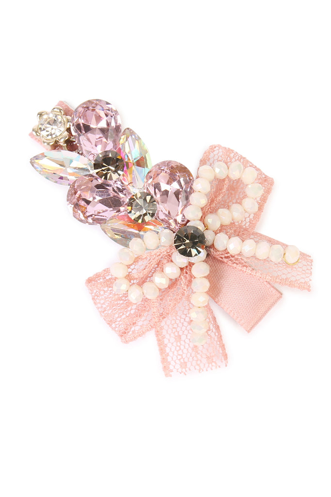 Bow & Pearl Clear Glass Hair Pins