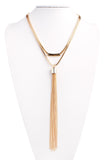 Curved Bar Layered Tassel Necklace
