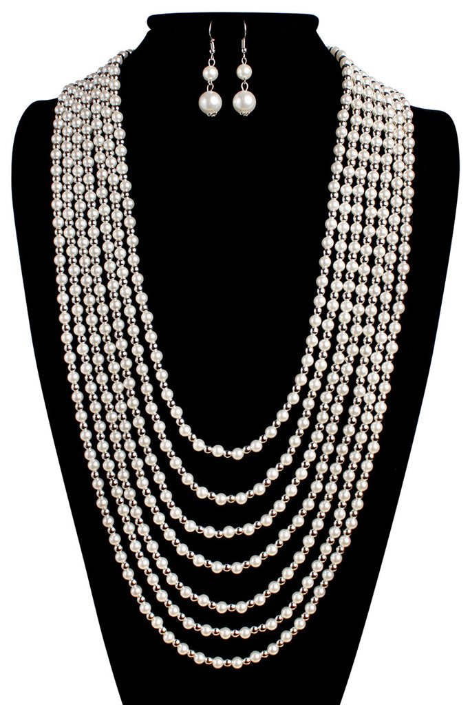 Drape Pearl Necklace Set