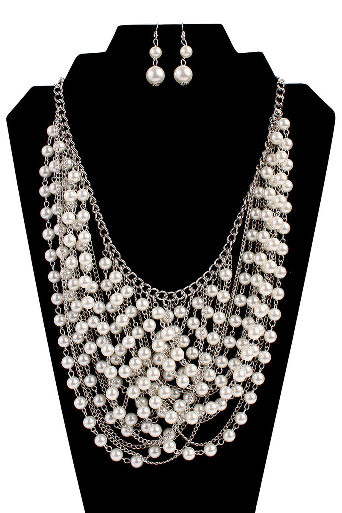 Waterfall Pearl Necklace Set