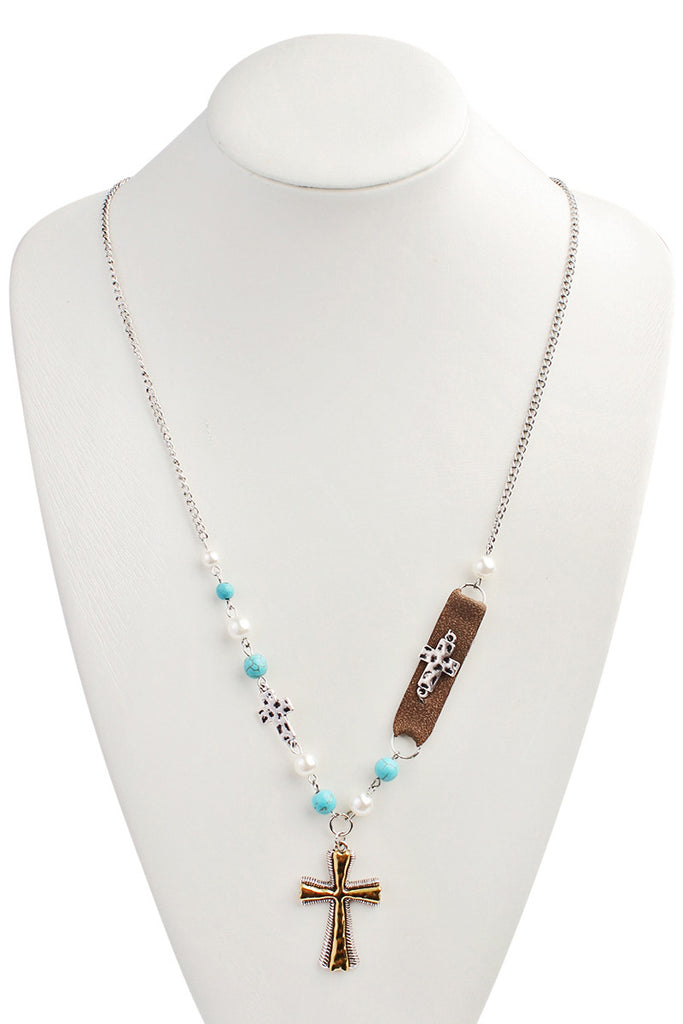 Pearl Cross Long Necklace