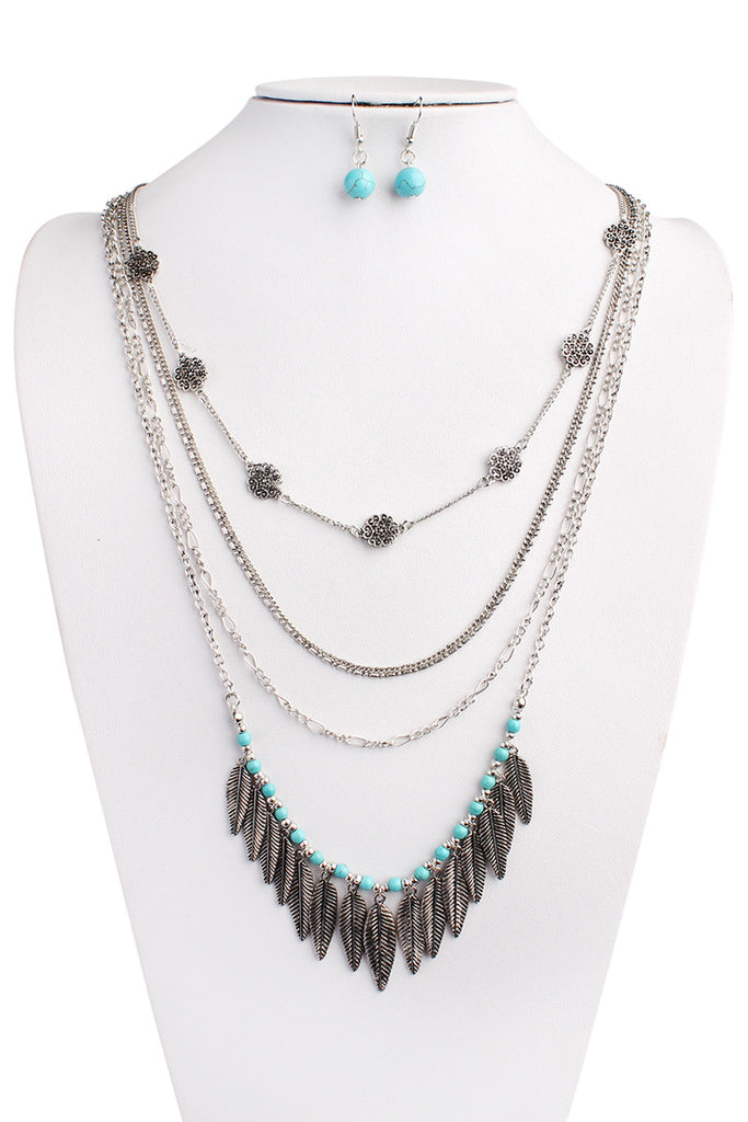 HDN1392 - SILVER LILY BOHO NECKLACE AND EARRING SET
