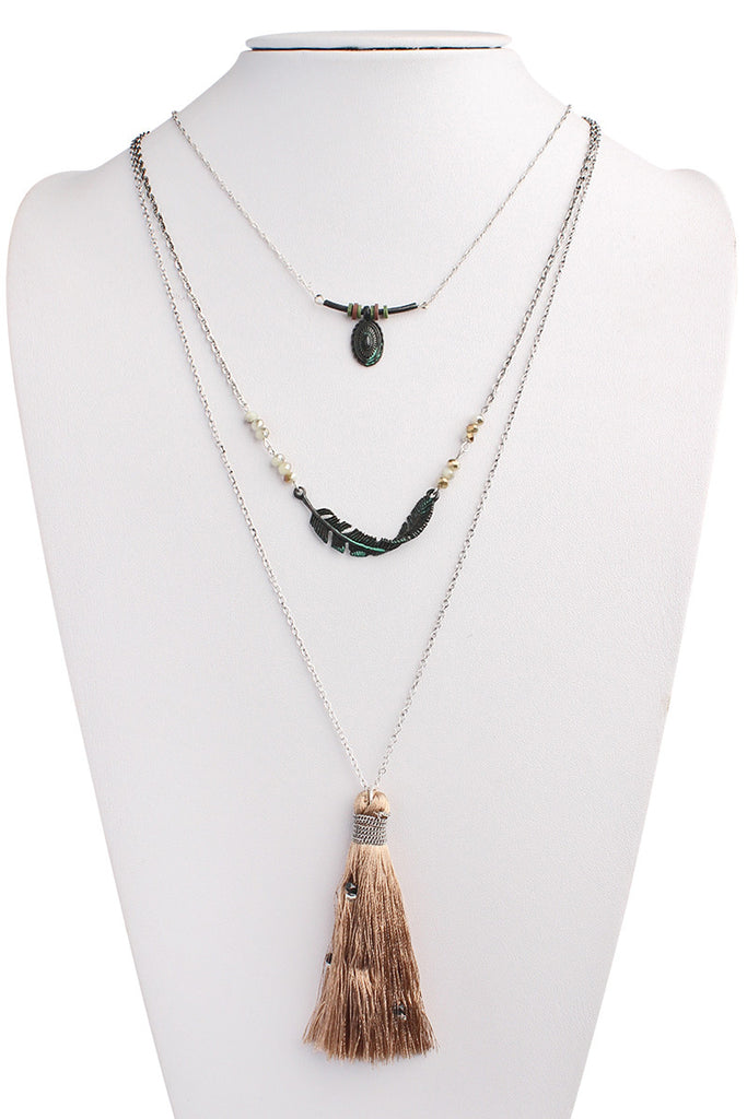 Twisted Feather Layer Necklace