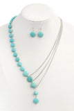 SILVER TURQUOISE SPLIT NECKLACE AND EARRING SET