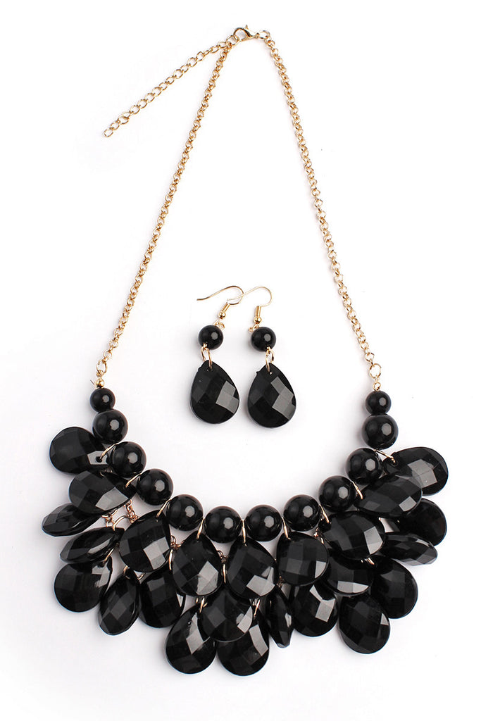Teardrop Bubble Bib Necklace Set