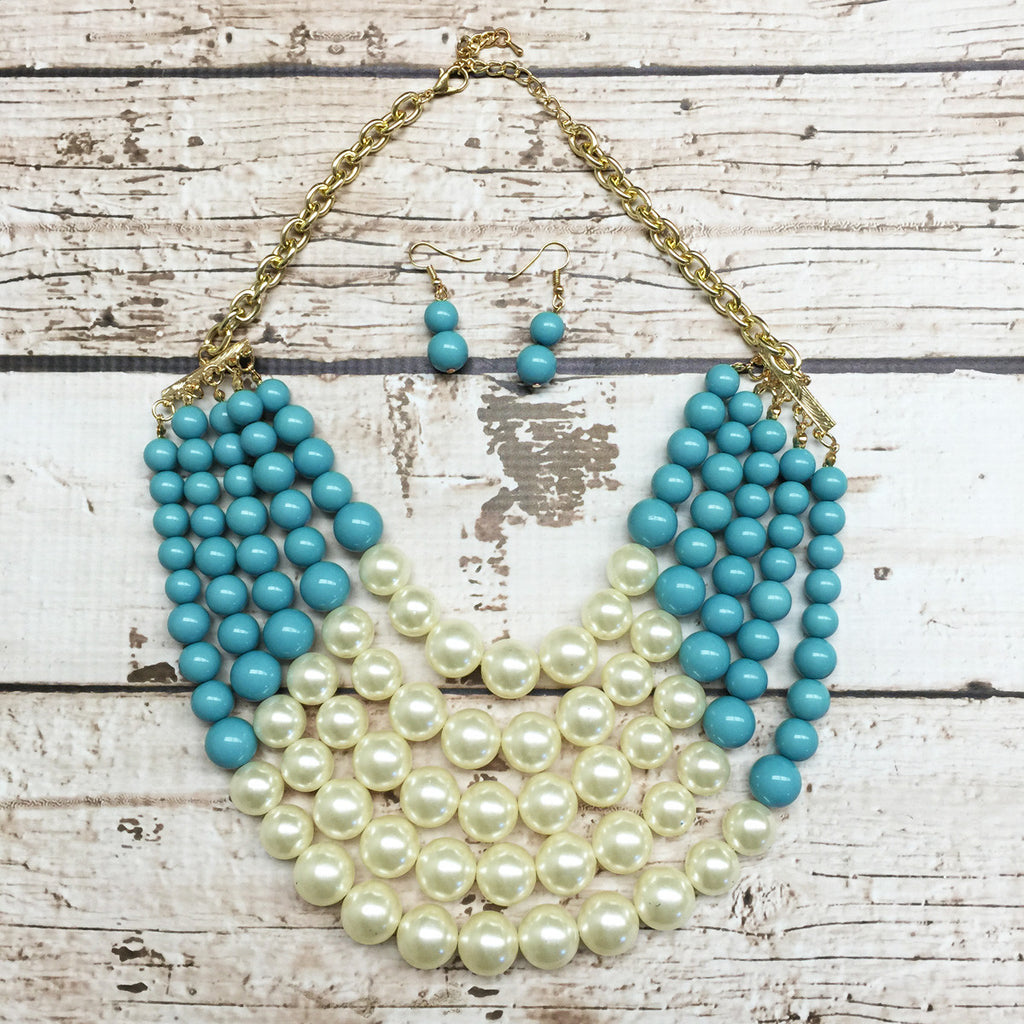 Colored Pearl Multistrand Necklace Set