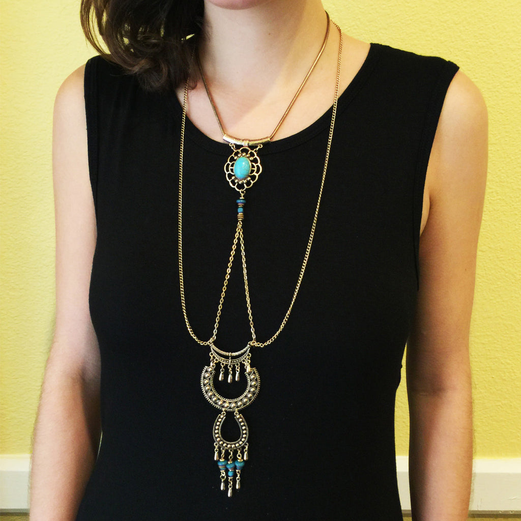 Ethnic Long-line Pendant Necklace