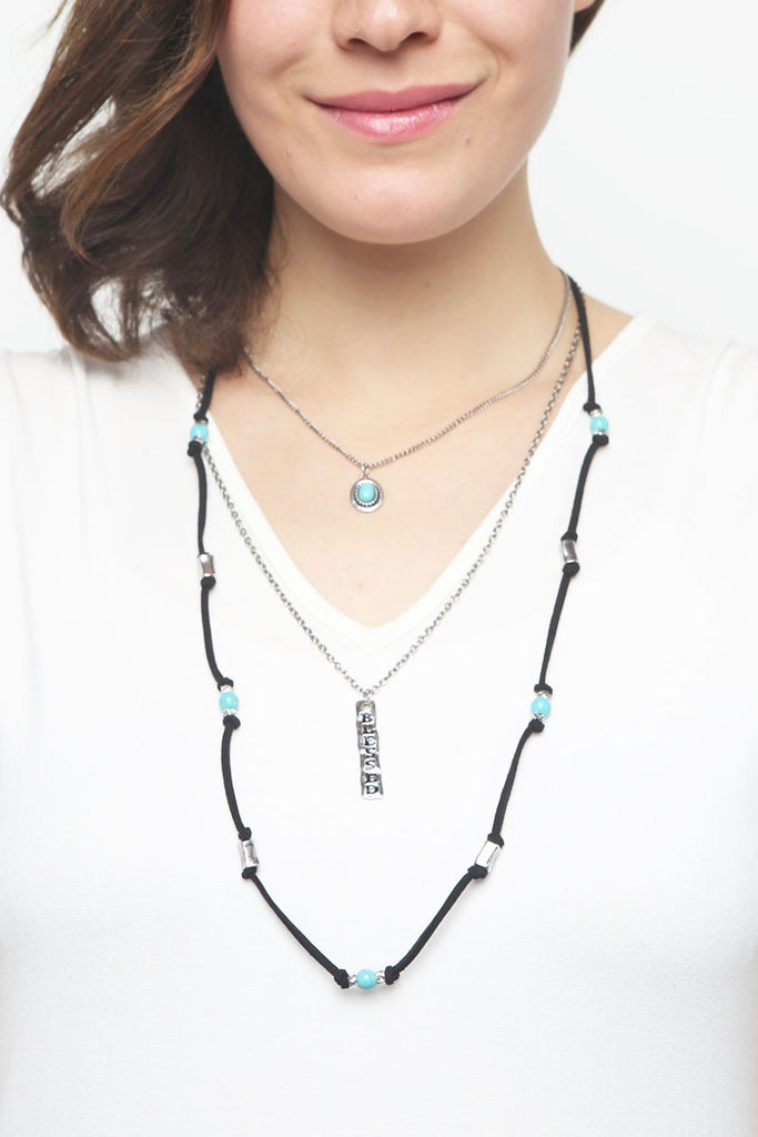 "Burnish ""Blessed"" Three Layer Necklace"