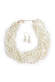 Braided Pearl Necklace Set