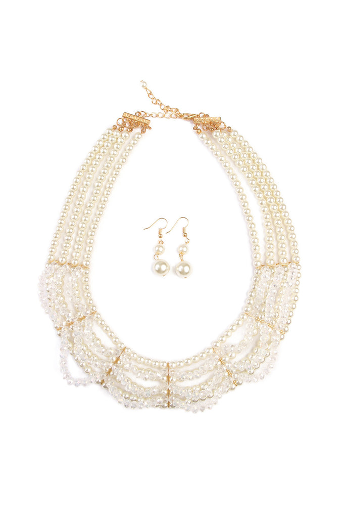 Glass Pearl Court Bib Set