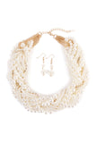 Faux Pearl Bib Necklace & Drop Earrings Set